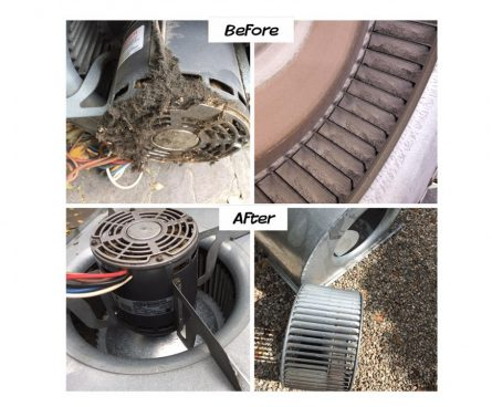 Air duct blower cleaning before and after